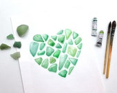 Emerald Wall Art - Giclee print - Watercolor painting - Green sea glass in heart shape - Beach cottage decor - Gift for love