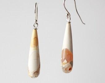 Gem slender teardrops , silver  earrings.