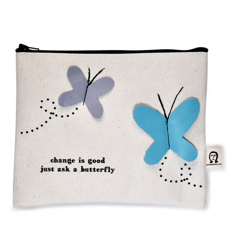 change is good butterfly pouch