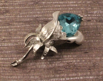 Emmons Silver Tone Flower with Blue Stone - Vintage 1960s