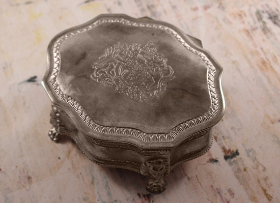 Silver Plated Trinket Box with Red Velvet Lining
