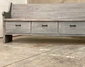 Cottage Grey Reclaimed solid wood raw wax finish dining entry bedroom footboard storage drawer bench