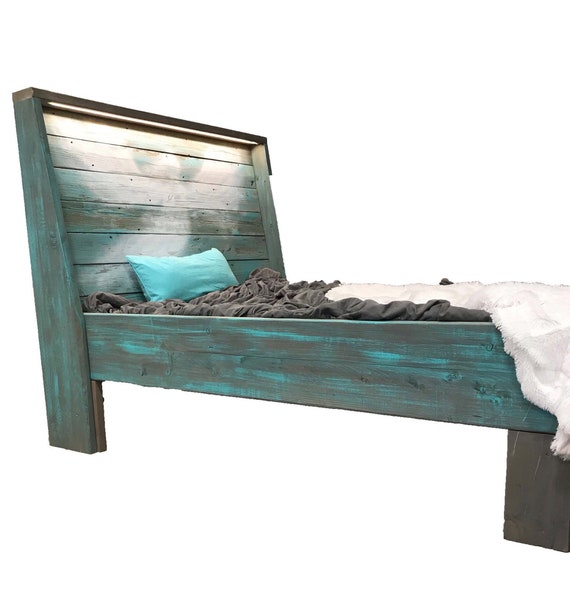The Aspyn Grey & Turquoise Weathered Reclaimed wood headboard and solid wood Bed Frame