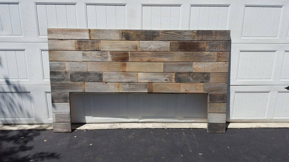 Rustic modern industrial patched reclaimed wood headboard art standard leg installation