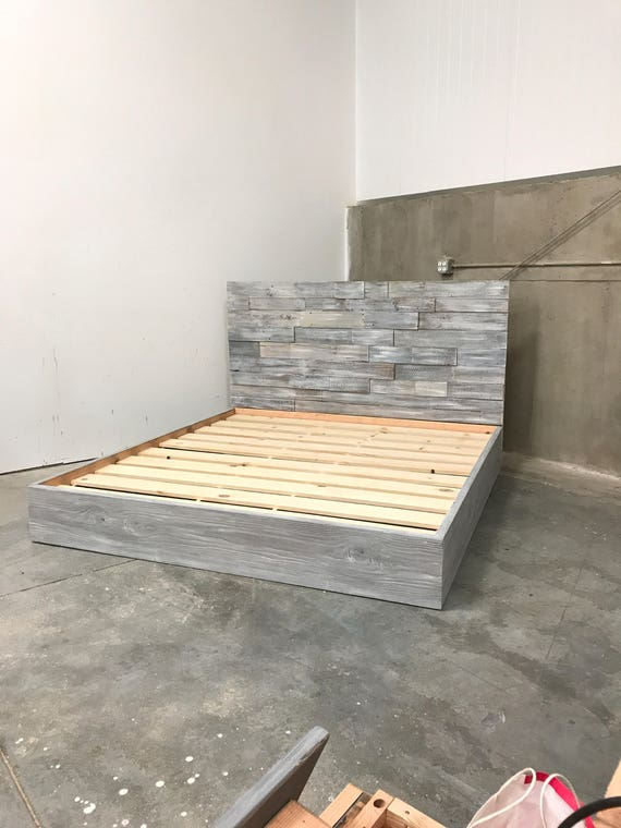 King size Amanda grey driftwood finished bed with horizontal staggered patched recycled reclaimed wood headboard