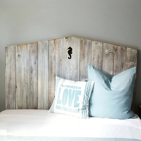 "55"" tall reclaimed wood beach headboard with seahorse detail"