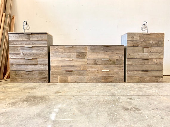 Modern rustic industrial reclaimed wood Handmade custom dresser chest of drawers