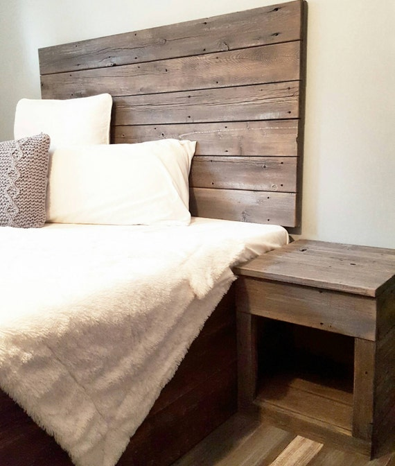 Michelle Grey Weathered Reclaimed recylced wood Headboard