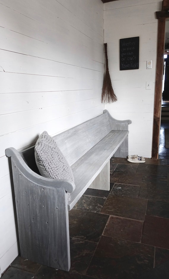 French Grey Reclaimed solid wood driftwood finish dining / entry /bedroom/footboard bench