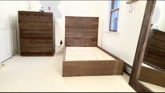 The Maya~ natural brown, red, and grey toned Weathered Reclaimed wood Bed Frame