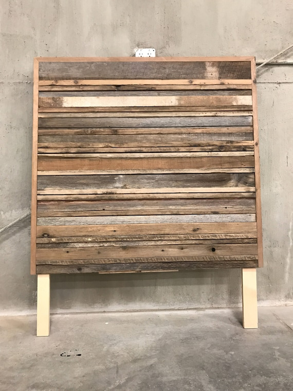 Reclaimed wood stacked wood art or Twin headboard horizontal