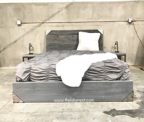 The Tyler, Charcoal and steel wood Bed and nighstands