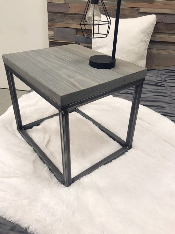 Modern rustic industrial steel and wood grey nightstands end tables