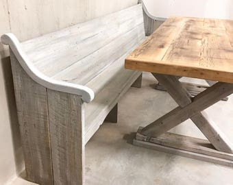 Reclaimed solid wood grey driftwood finish dining / entry /bedroom/footboard bench