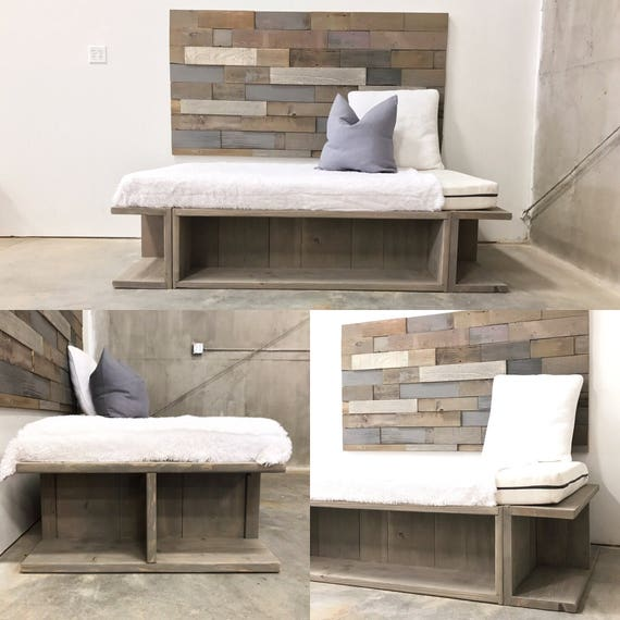 Nourah weathered grey storage cubby base day bed