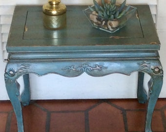 Blue French Style End Table 1940s