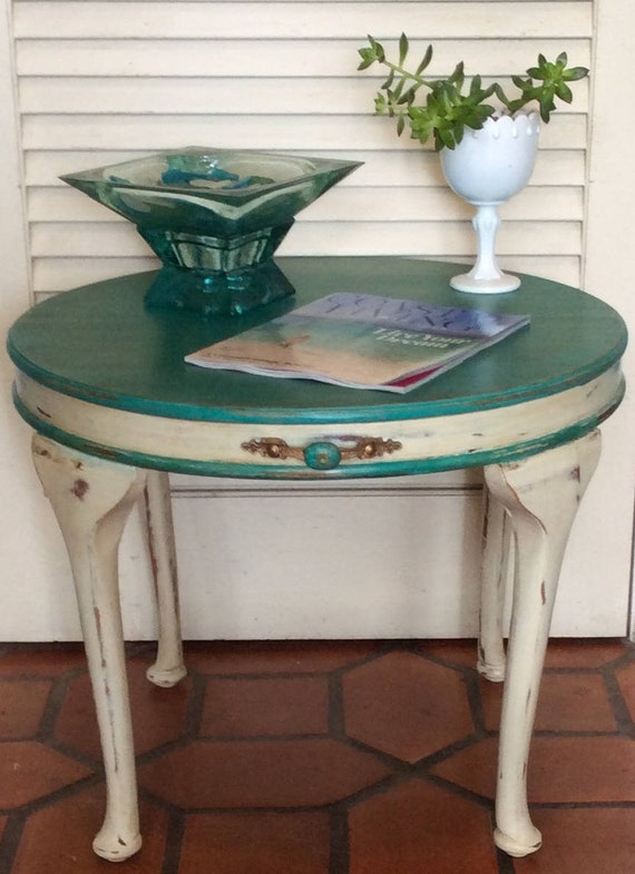 small round coffee table end table turquoise etsy. Black Bedroom Furniture Sets. Home Design Ideas