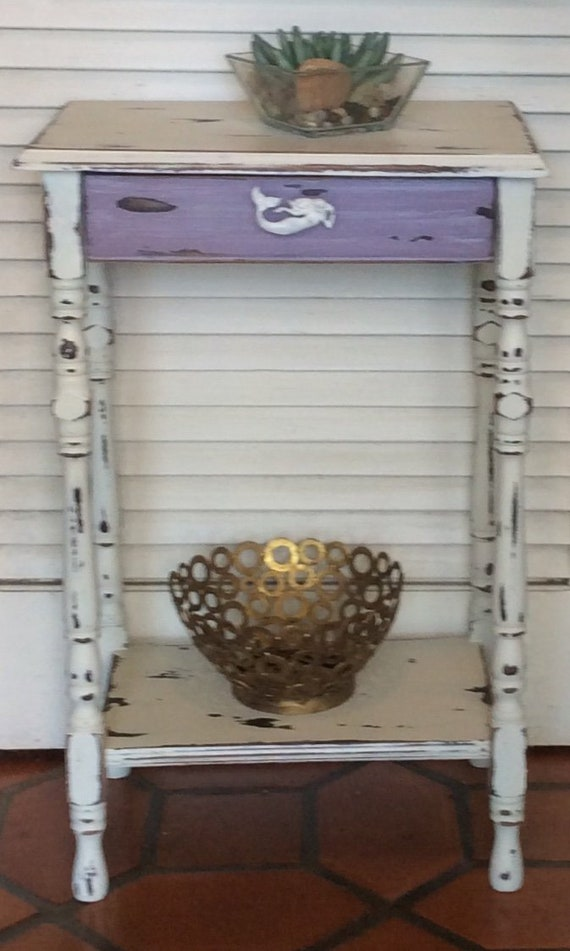 Purple/White Rustic Nightstand/Side Table 1930s