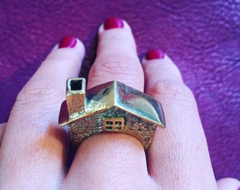 Brass Gold House Ring