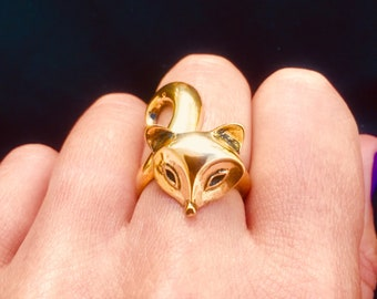 Brass Gold Fox Ring