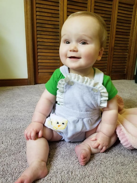 1970s terrycloth romper with duckling  -12 months