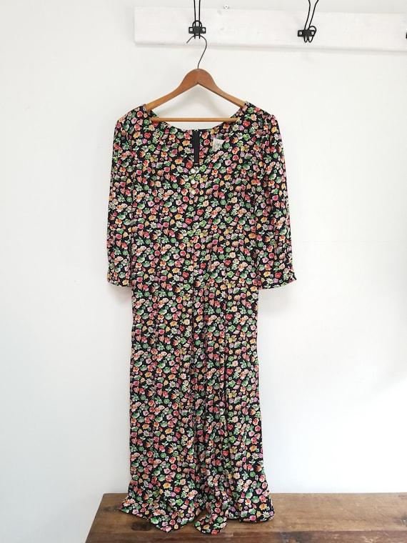 90s floral jumpsuit  -petite 7/8