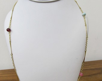 Vintage Pastel Plastic Beaded Station Necklace Item K # 361