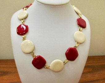 ON SALE Retro Red and Cream Colored Enameled Panel Necklace Item K # 1058