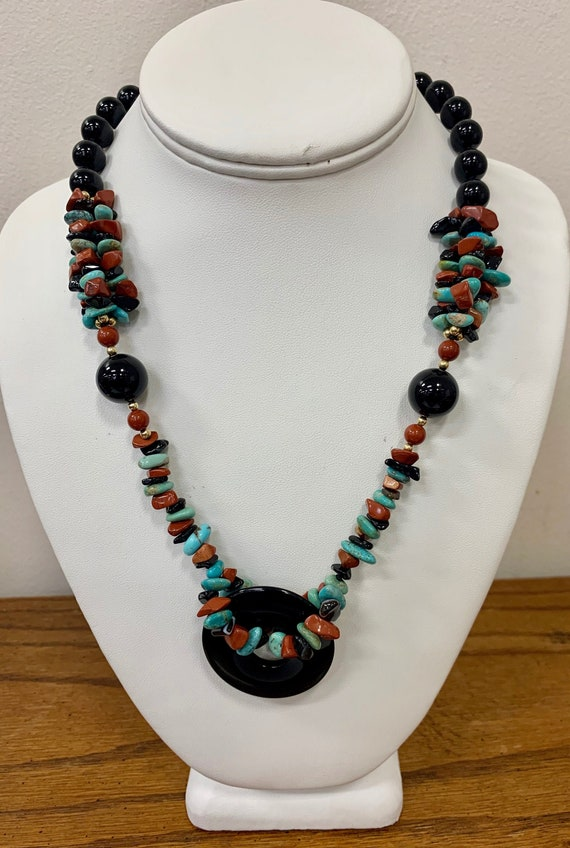 Brass Beads Garnet Onyx and Silver Plated Charms Bohemian Long Hand Beaded Necklace With Turquoise Howlite Colored Glass