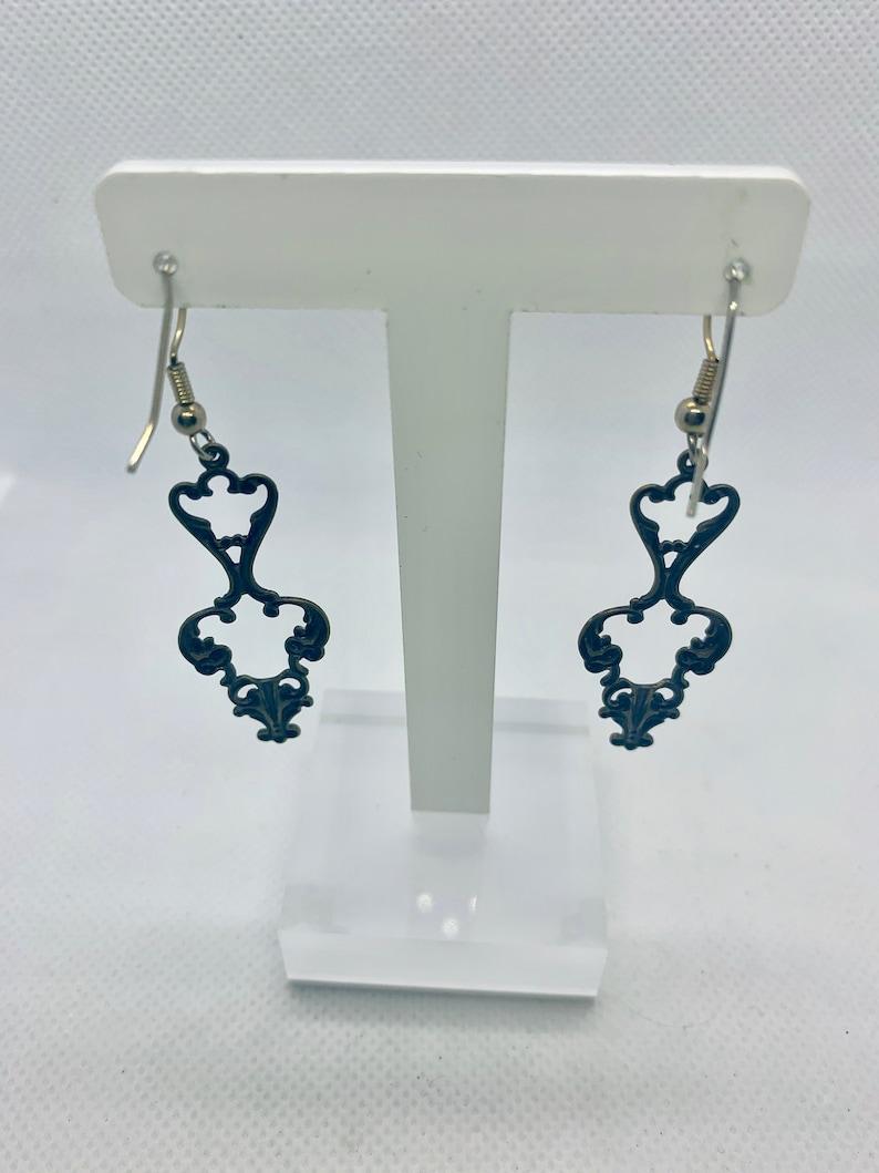 Vintage Inspired Enameled Open Work Metal Earrings Item K # 3169