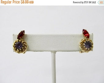 ON SALE Vintage Prong Set Red and Purple Rhinestone Earrings Item K # 2370