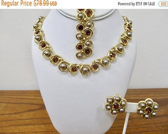 ON SALE TRIFARI Vintage Rhinestone and Faux Pearl Necklace, Bracelet and Earring Set Item K # 1054