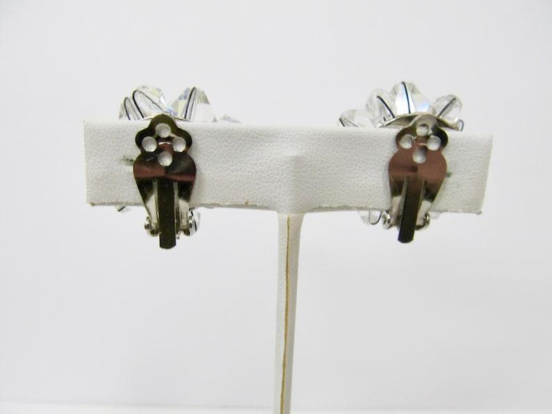 Vintage Sparkling Aurora Borealis Crystal Cluster Earrings Item K # 1690