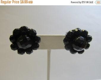 ON SALE Vintage Black Glass Cluster Earrings Item K # 2548