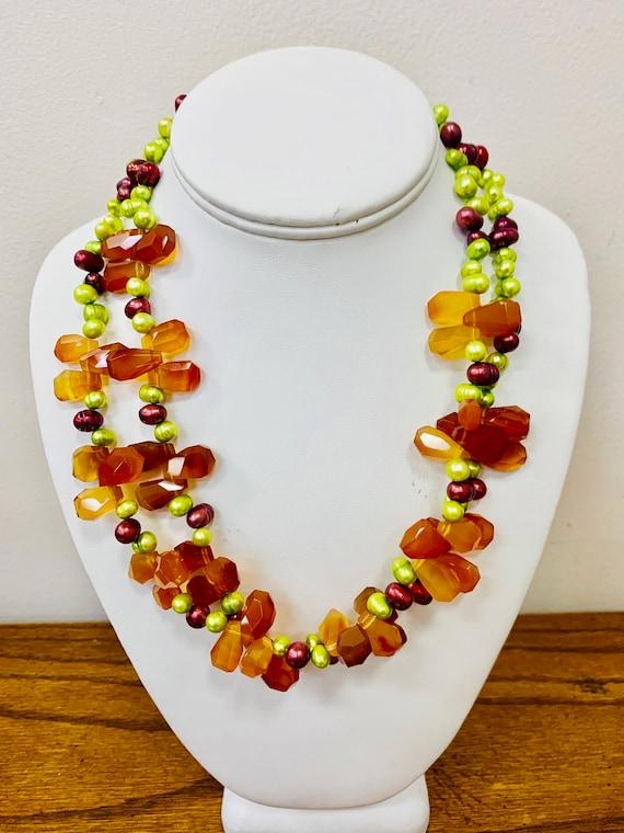DIANA VENEZIA Dyed Pearl and Agate Multi Strand N… - image 1