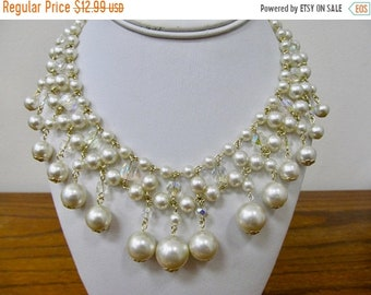 ON SALE Vintage Faux Pearl and Aurora Borealis Crystal Dangle Necklace Item K # 617