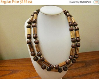 ON SALE Vintage Double Strand Wooden Beaded Necklace Item K # 1529