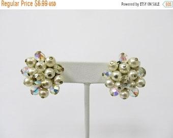 ON SALE Vintage Faux Pearl and Aurora Borealis Crystal Cluster Earrings Item K # 348