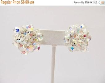 ON SALE Vintage Aurora Borealis Cluster Earrings Item K # 631