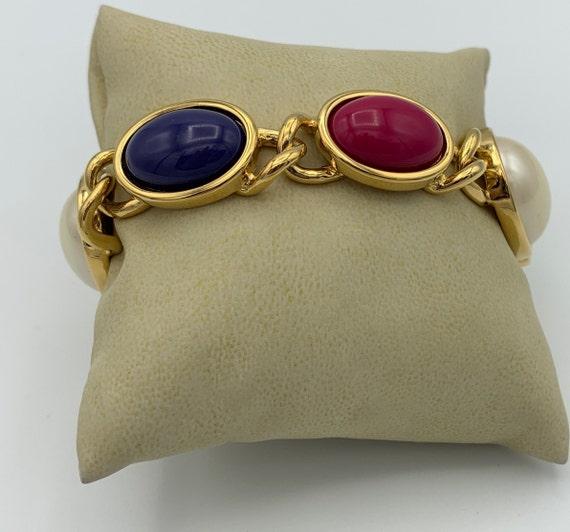 Retro Colorful Faux Pearl Plastic Stone Bracelet I