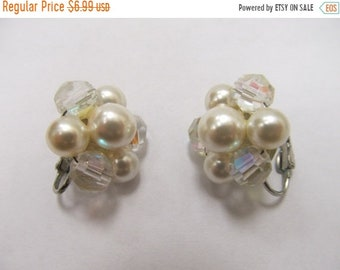 ON SALE Aurora Borealis and Faux Pearl Cluster Earrings Item K # 2191