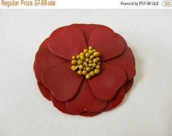 ON SALE Vintage Layered Leather Flower Pin Item K # 365
