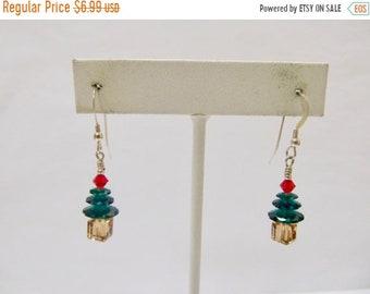 ON SALE Vintage Crystal Beaded Christmas Tree Earrings Item K # 1159