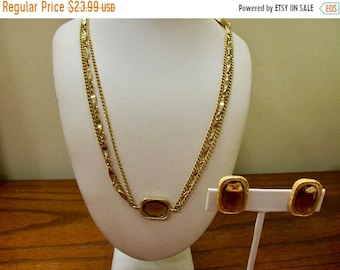 ON SALE SARAH Coventry Vintage Golden Glass Panel Necklace and Earring Set Item K # 232
