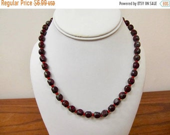 ON SALE Retro Variegated Red and Grey Glass Beaded Necklace Item K # 2069