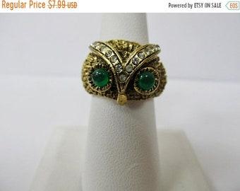 ON SALE Vintage Rhinestone Owl Adjustable Ring Item K # 2413