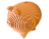 Mandarin Orange Laser Cut Corrugated Cardboard Piggy Bank Magnetic Opening