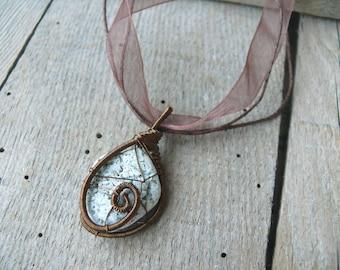 Beach stone pendant, sea stone jewelry, sea stone pendant, wire wrapped pendant, genuine sea stone, copper wire, pendant statement piece