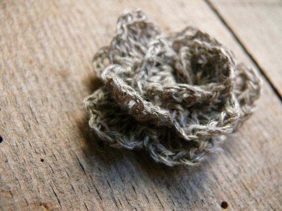 Häkelarbeit-Blume für Brosche Häkeln Leinen Rose Leinen | Etsy