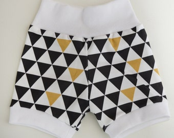 Cotton organic Gold, White, Black Triangles Infant/Toddler Mini shorts with contrasting trim